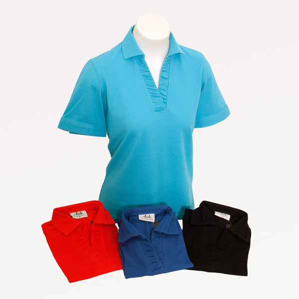 100% Cotton Ruched Polo Top