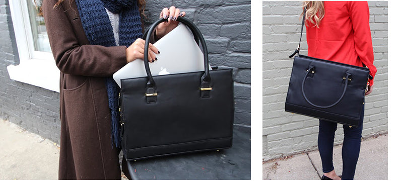 59ae24754 Genuine leather is synonymous for fading and becoming blotchy, but the  vegan faux leather of the New York laptop tote ...