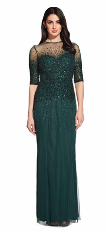 Adrianna Papell 3/4 Emerald beaded gown