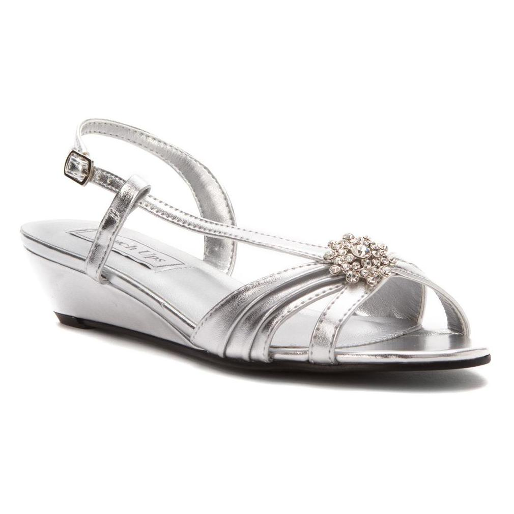Geri Silver Metallic Heels by Touch Ups
