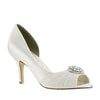 Helen White Satin Embellished Pump