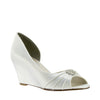 Lee White Satin Pleated and Embellished Wedge
