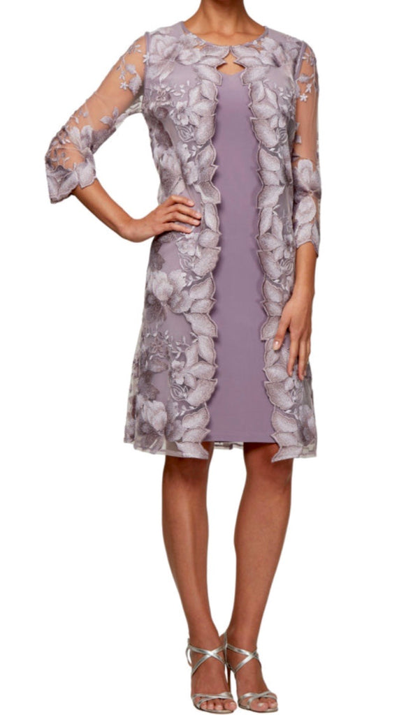 Midi Length Embroidered Lace Mock Jacket with Jersey Dress