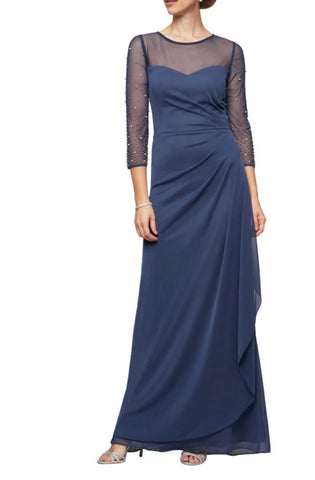 A-Line Special Occasions Dress with Beaded Illusion Sleeves