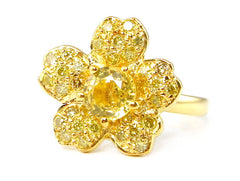 Gold Canary Diamond Sakura Ring LUXE
