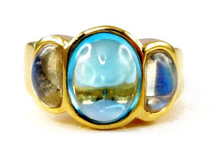 Gold Topaz Blue Moonstone Barcelona Ring LUXE