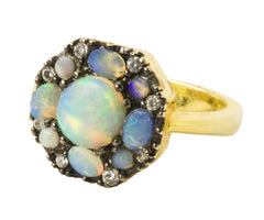 Opal Sapphire Deco Octagon Ring