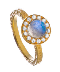 Aquamarine Blue Moonstone Kori Ring