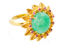 Gold Chrysoprase Pink Sapphire Soleil Ring
