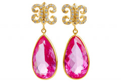 Arabesque White Sapphire + Pink Topaz Gold Vermeil Drop Earrings