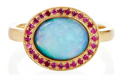 Black Opal and Pink Sapphire Kori Ring