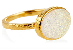 Gold White Shimmer Horizontal Shimmer Kori Ring