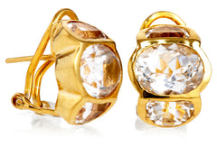 Gold White Topaz Barcelona Earrings