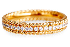16k Yellow Gold White Diamond Ivy Wedding Band LUXE