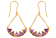 Deco Amethyst Drop Earrings