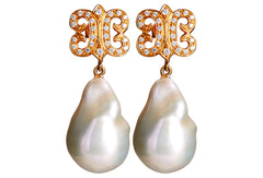 South Sea Pearl Sapphire Arabesque Drops