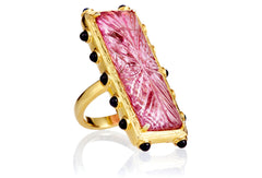 Carved Tourmaline Amethyst Isla Ring