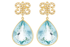 Sapphire Blue Topaz Arabesque Earrings LUXE
