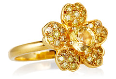 Yellow Diamond and Sapphire Blossom Ring LUXE
