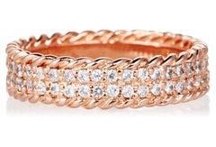 18k Rose Gold White Sapphire Ivy Band