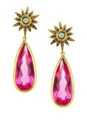 Pink Topaz & Blue Sapphire Etoiles Drops LUXE