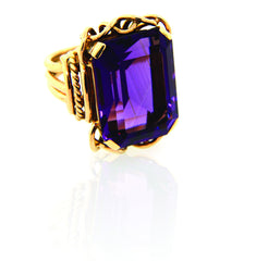 18k Yellow Belle Epoque Amethyst Ring LUXE