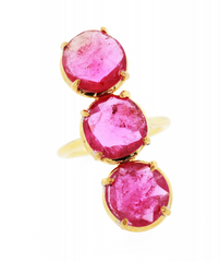 Pink Tourmaline Three Stone Gemma Ring