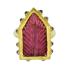 Carved Tourmaline Statement Ring