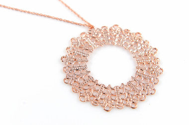 Rose Lace Circle Pendant