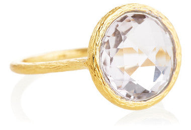 Gold White Topaz Santorini Ring