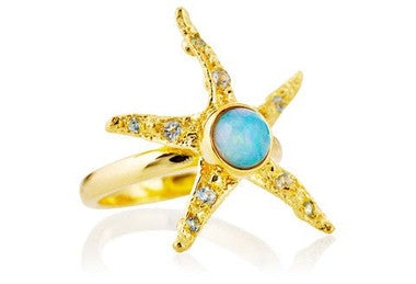18K Gold Blue Opal & Aquamarine Starlette Ring LUXE