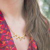 gold standard layering necklace on model