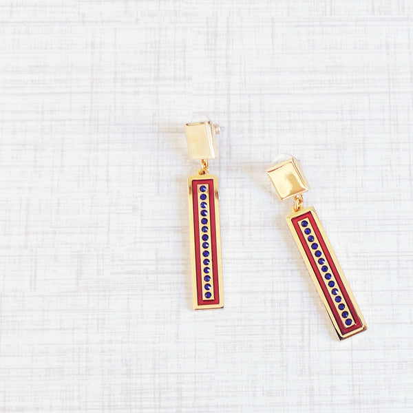 bright lights rectangle earrings