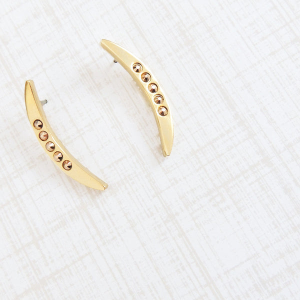 crescent stud earrings swarovski