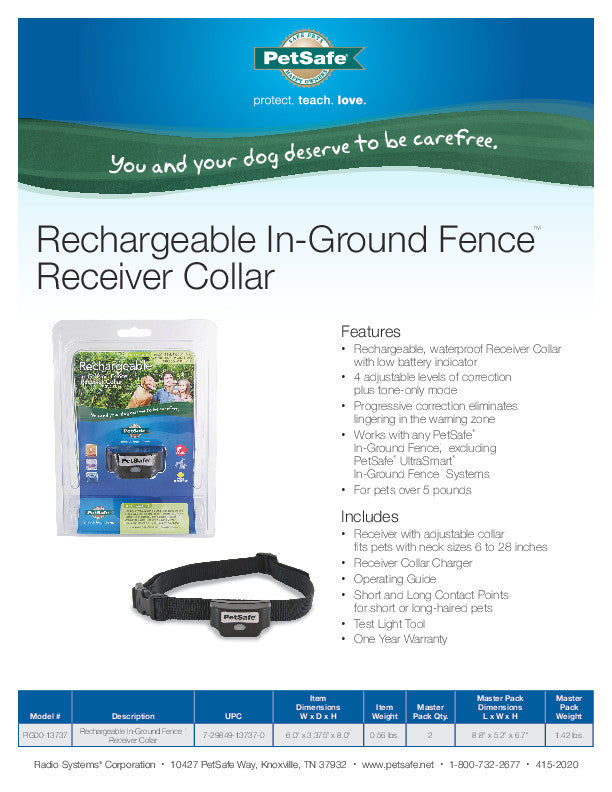 PIG00-13737 Rechargeable In-Ground Fence™ Receiver Collar Sales Sheet