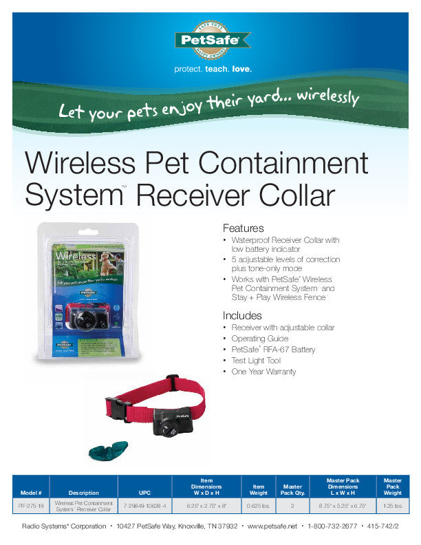 PIF-275-19 PetSafe® Wireless Pet Fence Containment System™ Receiver Collar Sales Sheet