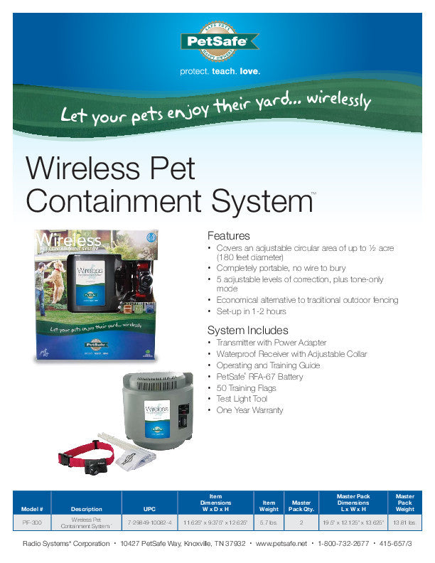 PIF-300 PetSafe® Wireless Pet Fence Containment System™ Sales Sheet
