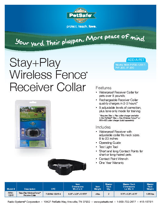 PIF00-12918 PetSafe® Stay + Play Wireless Fence® Receiver Collar Sales Sheet
