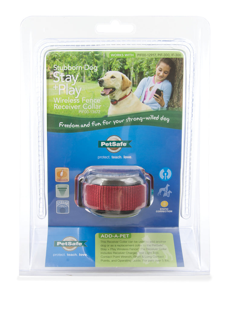 PIF00-13672 PetSafe® Stubborn Dog Stay + Play Wireless Fence® Receiver Collar Packaging