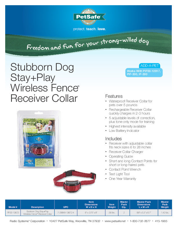 PIF00-13672 PetSafe® Stubborn Dog Stay + Play Wireless Fence® Receiver Collar Sales Sheet