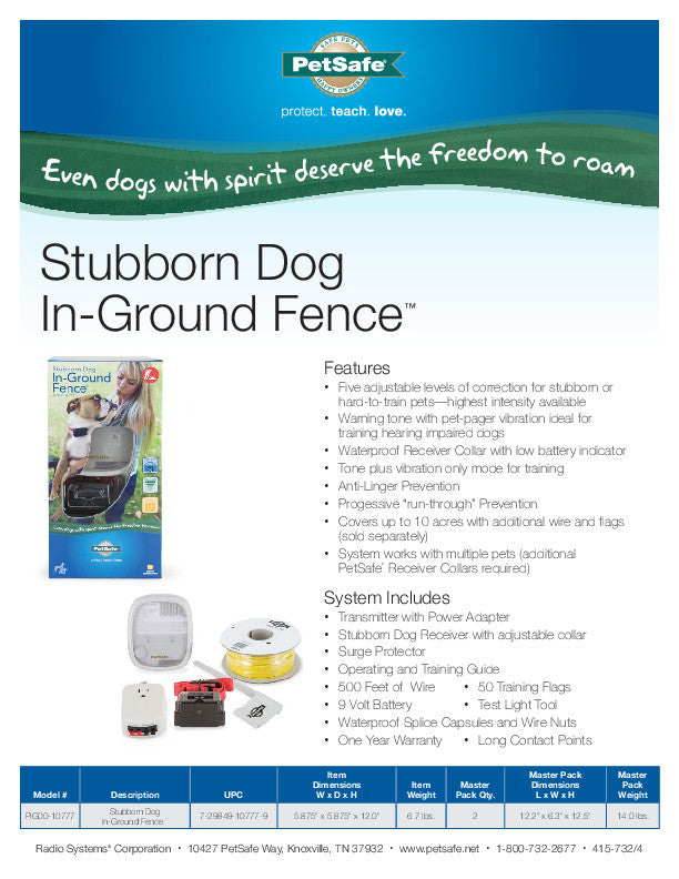 PIG00-10777 PetSafe® Stubborn Dog In-Ground Fence™ Sales Sheet