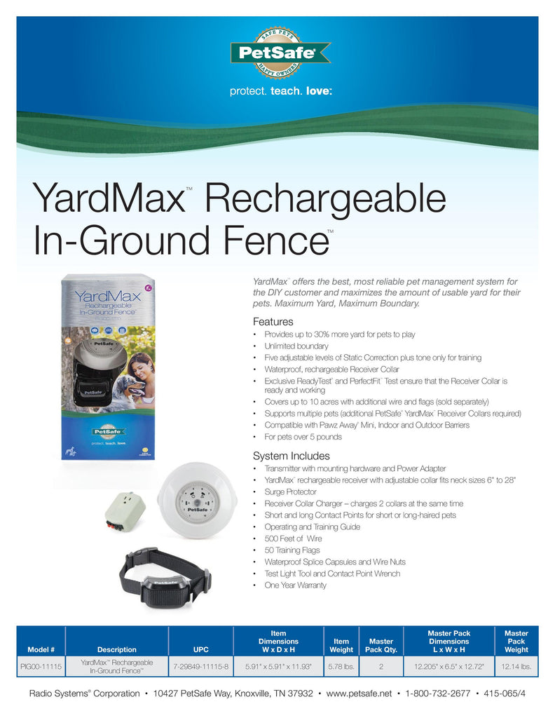 PIG00-11115 PetSafe® YardMax® Rechargeable In-Ground Fence™ Sales Sheet