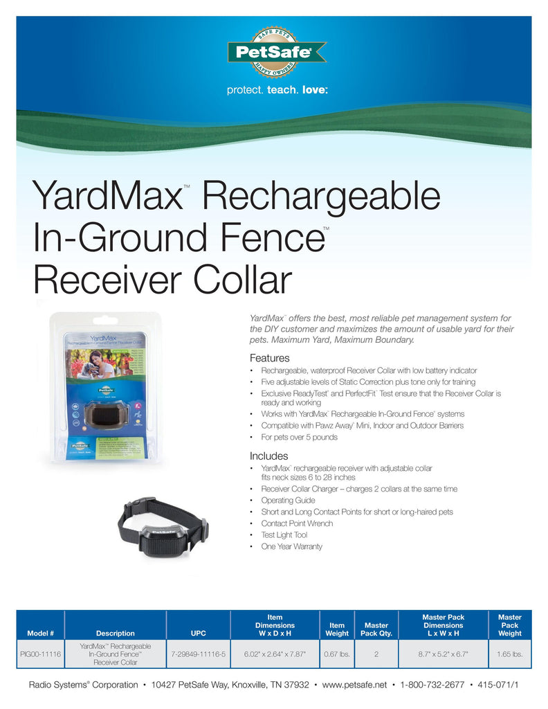 PIG00-11116 PetSafe® YardMax® Rechargeable In-Ground Fence™ Receiver Collar Sales Sheet