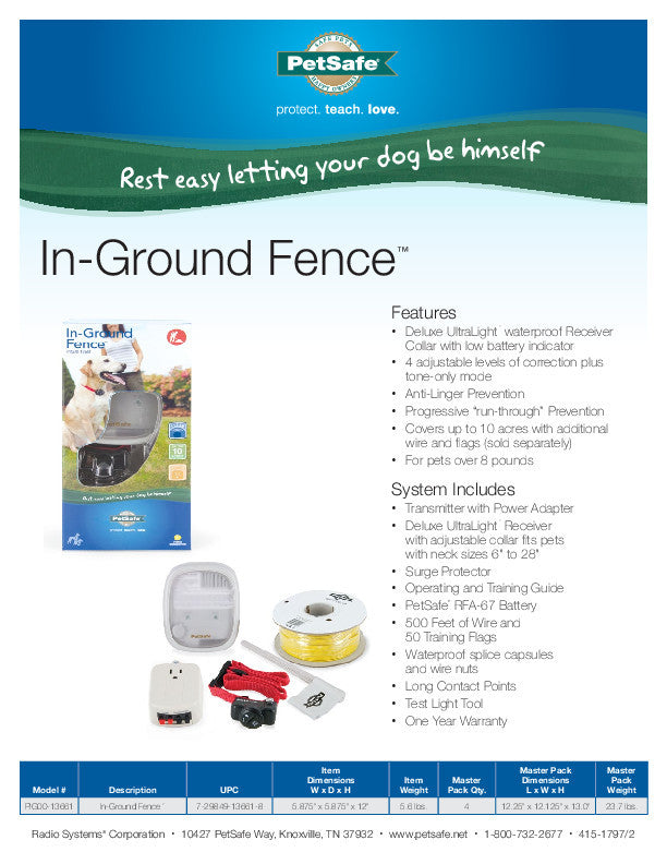 PIG00-13661 PetSafe® In-Ground Fence™ Sales Sheet