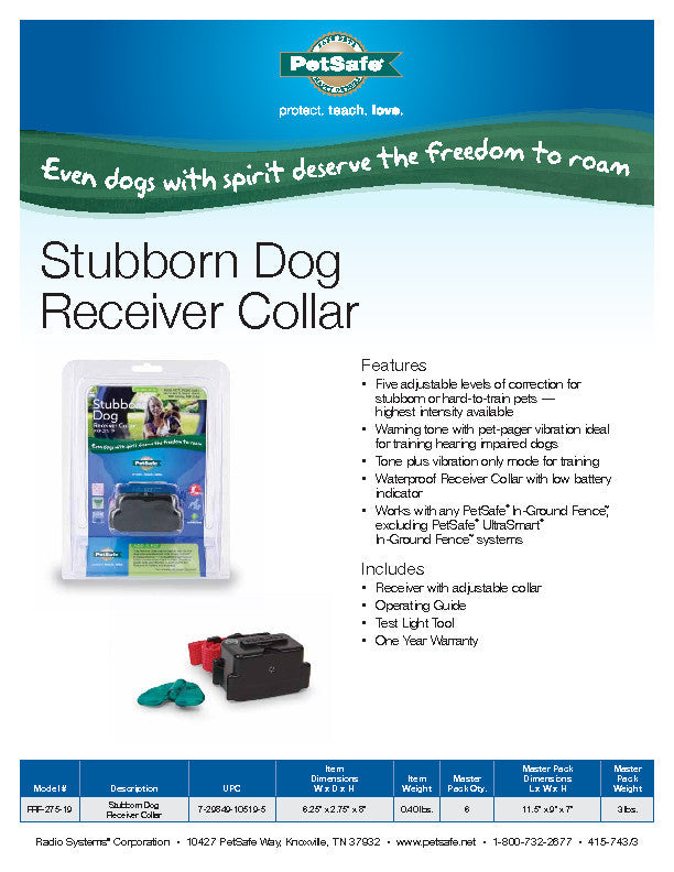 PRF-275-19 PetSafe® Stubborn Dog In-Ground Receiver Collar Sales Sheet