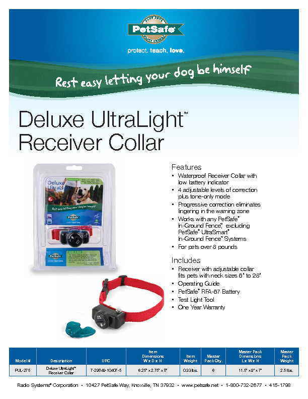 PUL-275 Deluxe In-Ground UltraLight™ Receiver Collar Sales Sheet