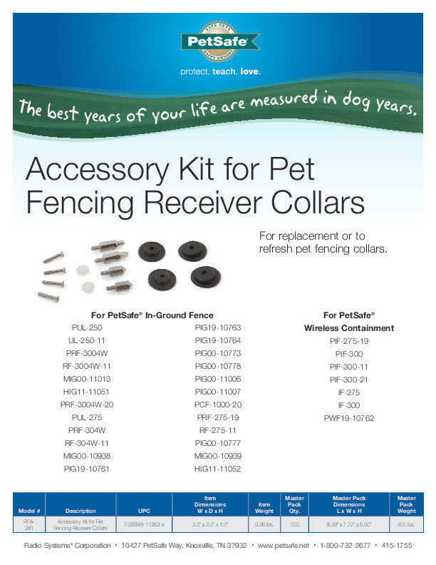 RFA-281 Fencing Collars Accessory Pack Sales Sheet