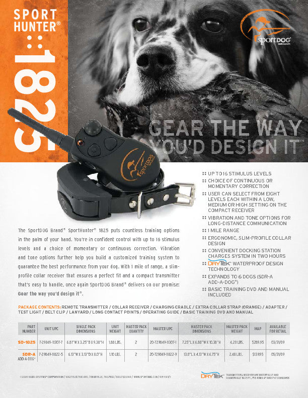 SportDOG Brand® SportHunter® 1825 Sales Sheet