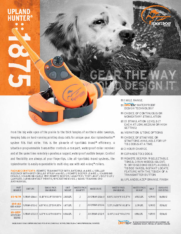 SportDOG Brand® UplandHunter® 1875 Sales Sheet