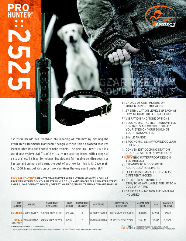 SD-2525 ProHunter® 2525 Sales Sheet